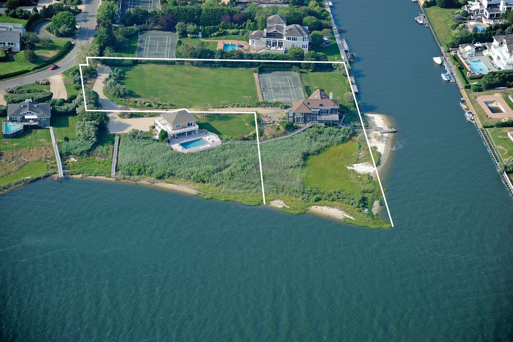 Single Family Home for Sale at Rare Waterfront Compound 26 And 30 Stacy Drive, Westhampton Beach, New York